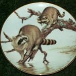 сувенирная тарелка еноты у реки