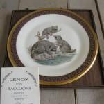тарелка сувенир семья енотов