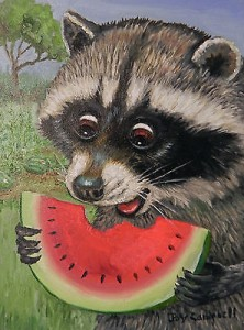 енот рисунок и арбуз