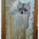 raccoon on a log ceramic tile mosaic