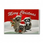 raccoon_merry_xmas_greetings_rectangle_magnet